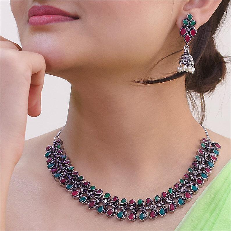 Boho Gypsy Indian Jewelry High Quality Oxidized German Silver GreenPink Stone Leaf Design Motifs Choker Necklace Set /& Adjustable Link