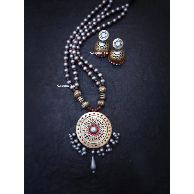 Indian Temple Jewelry Handmade Natural Terracotta Clay Two Layered Grey Gold Rounded Design Pendant Hand-painted Long Beaded Necklace Set