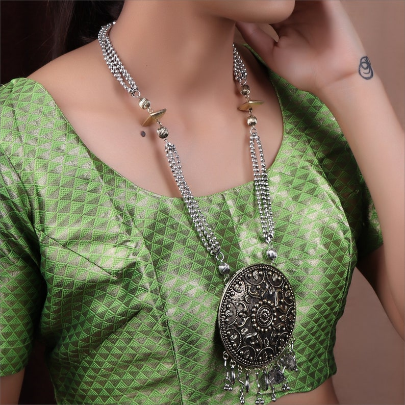 Oxidized German Silver Dula Tone 4 Layered Chain /& Round Shape Floral Design Pendant Long Necklace Set Indian Jewelry Afghani Kutchi Gypsy