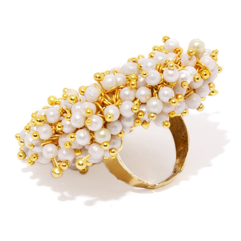Zaveri Pearls Gold Tone Embellished With Pearls Ethnic Adjustable Statement Finger Ring Indian Bollywood Fashion Jewelry Indian Jewelry