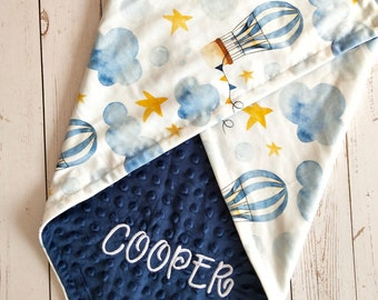 Hot Air Balloon Appliqued Minky Blanket Personalized Baby Girl Minky Baby Blanket Floral Hot Air Balloon Personalized Minky Baby Blanket