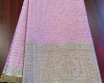 5ed6a84a50 Tissue weaving sarees with all over silver jari and contrast border and  contrast brocade blouse.