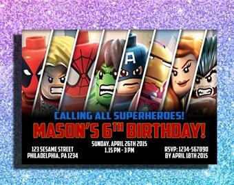 Avengers Lego Invitation Birthday Digital Invitationavengers Design Card
