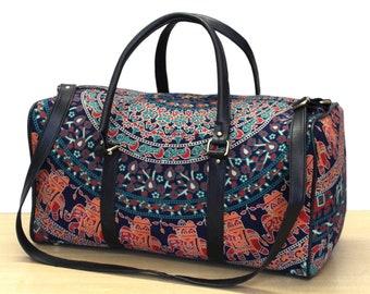 Gym Bag Indian Elephant Women Canvas Duffel Bag Cute Sports Bag for Girls