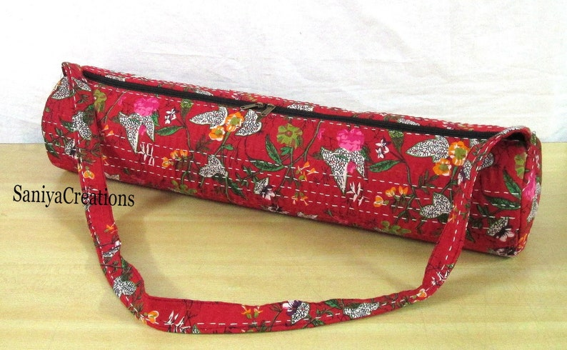 New Yoga Bag Floral Kantha Stitch Indian Handmade Gym Exercise Mat Carrier Cotton Bag Hippie Yoga Mat Carry Bags With Shoulder Strap Throw