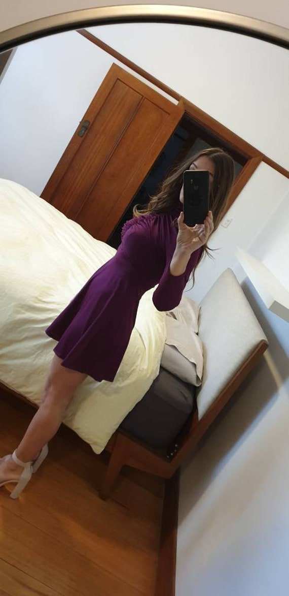 1960s Mod Purple Mini Dress