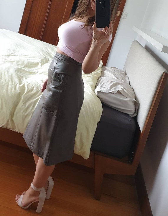 1980s Buttery Soft Leather Skirt with Pockets