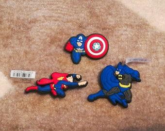 5 Spiderman Batman Captain America Cartoon jibbitz croc shoe charms cake toppers