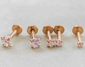 HAMSA Rose Gold & Crystal Labret 16g Flat Back Stud for Cartilage earring/Tragus bar/Forward Helix/Conch/Monroe/Medusa/Philtrum