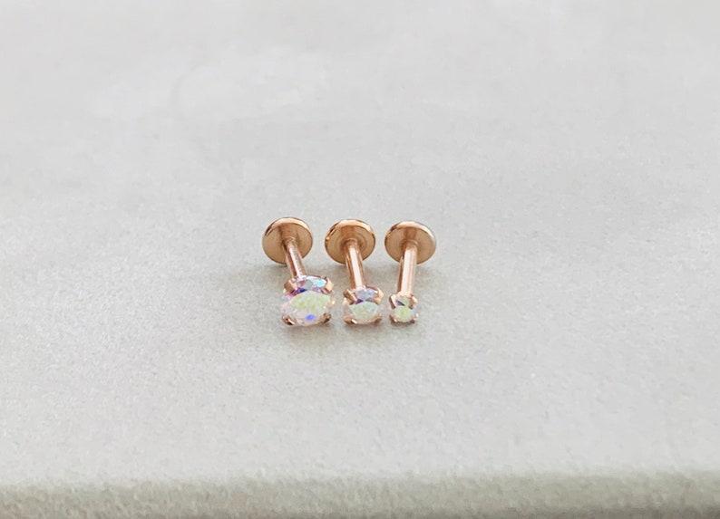 DAZZLE 16g in Rose Gold Labret 16g Flat Back Stud for Cartilage earringTragus barForward HelixConchMonroeMedusaPhiltrum