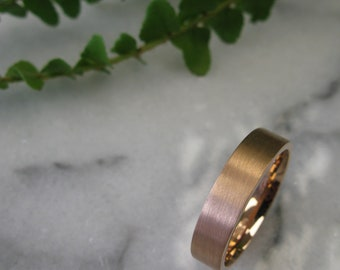 9acbad0df Mens Wedding Ring - Rose Gold Wedding Band - Mens Wedding Band - Mens Ring  - Rose Gold Ring - 5mm Ring - Flat Court - FREE Engraving-