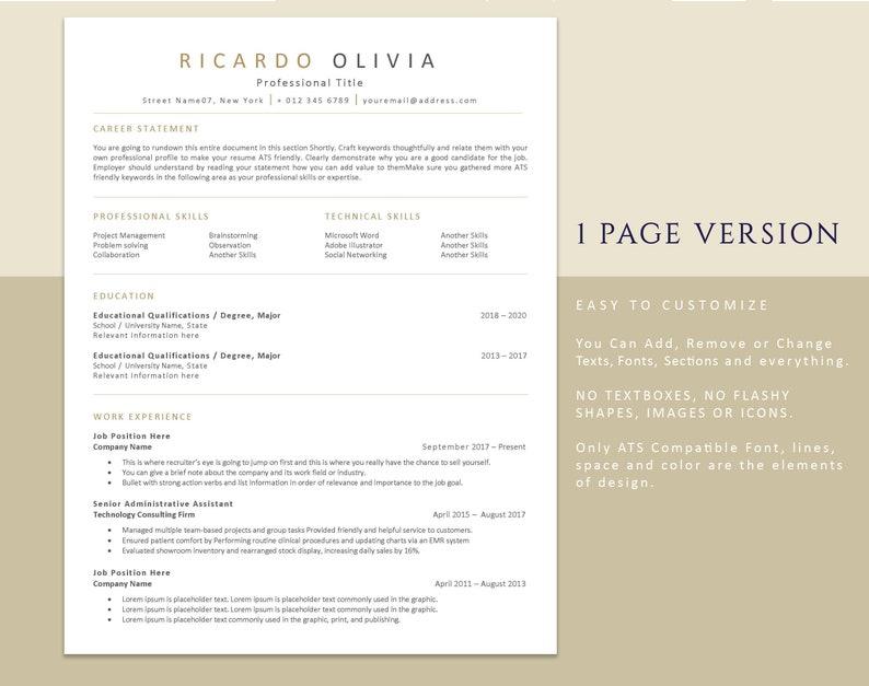 ATS Resume Template Professional resumes ATS friendly Curriculum Vitae Template Word Modern CV template