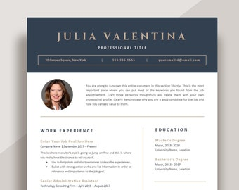 CV template Word, Professional Resume templates, Modern curriculum vita, Creative resume with photo, Instant Download vita template