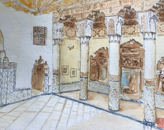 "Original watercolor hand-painted ""Marrakech Museum"". Format A5."