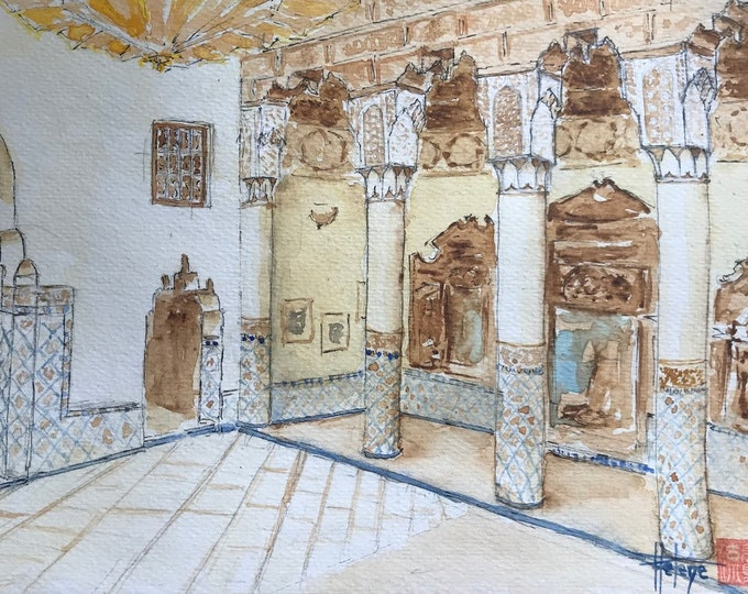 Watercolor format A5, museum of Marrakech. Original hand-painted painting.