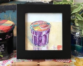 Original mini watercolor framed, the jar of jam. hand-painted painting.