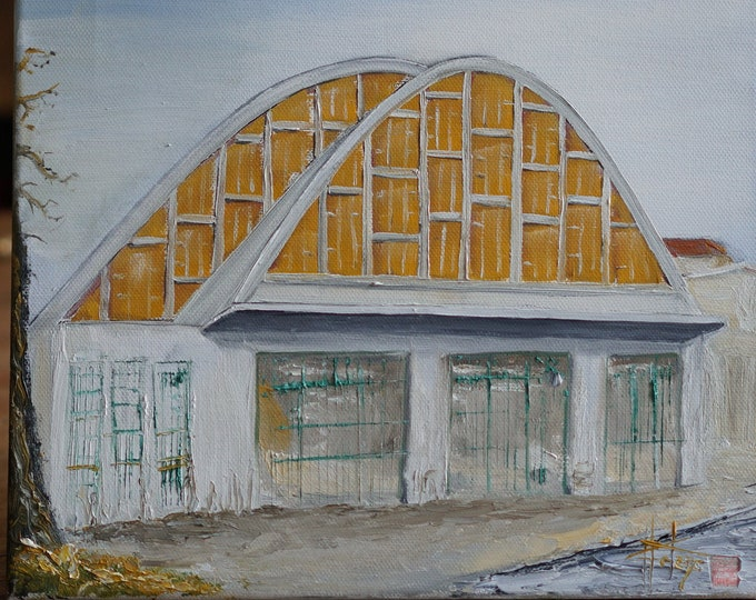 Oil painting, original, boulingrin Hall market in Reims. painting on canvas frame.