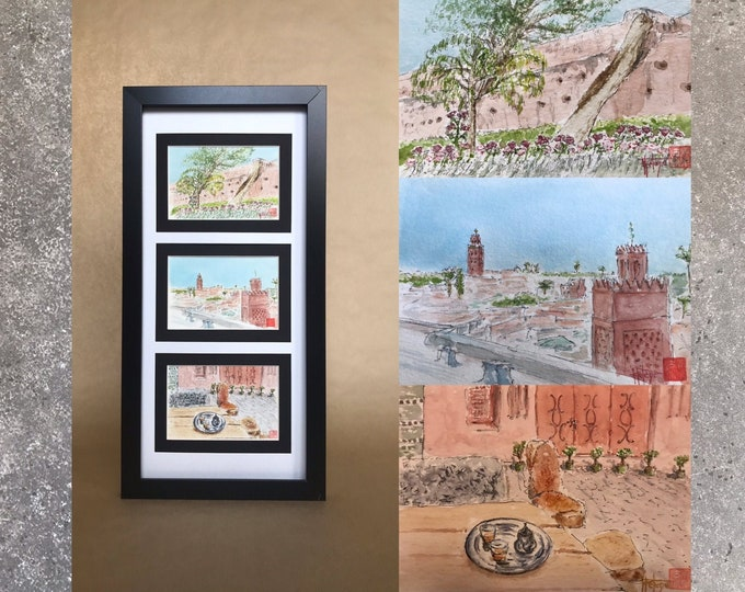 Triptych of watercolours, Marrakech. Original hand-painted. Three watercolors A6 postcard format.