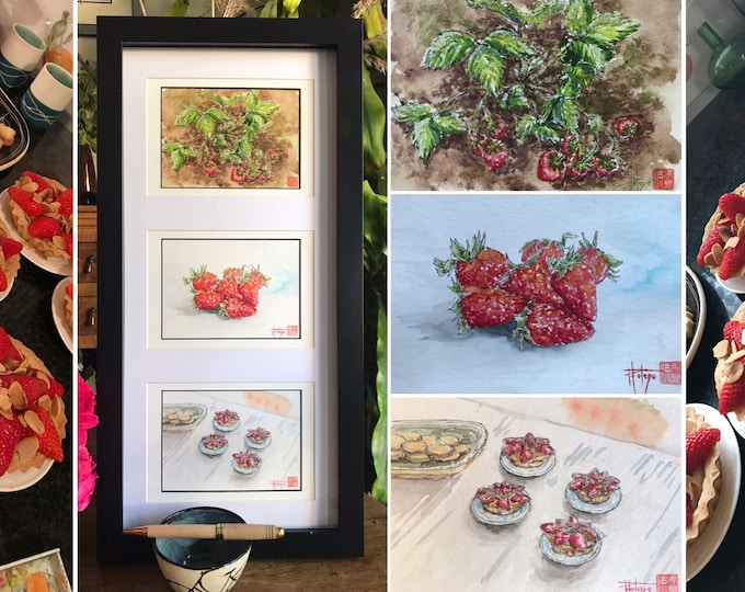 Triptych of watercolors, Strawberries, three postcard formats, original hand painted.