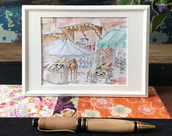 Sketch of travel to Morocco, market in Marrakech, Hand painted painting.