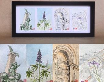 Série d'aquarelles originales sur le thème de Québec. Format des aquarelles cartes postales A6. Peintes à la main.