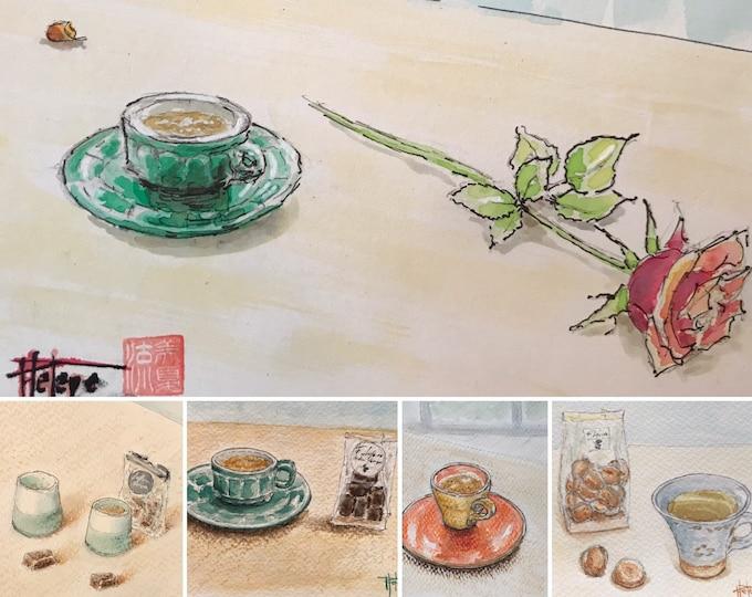 Watercolors postcard format, coffee and tea breaks, original hand painted.