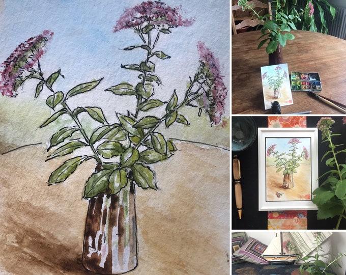 Watercolor, sedum bouquet, original hand-painted. Postcard format.