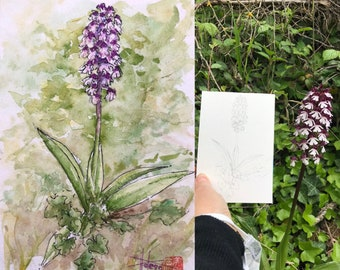 Watercolor format postcard A6, wild orchid Purple. Original hand painted.