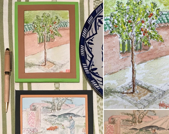 Original watercolors, Marrakech, orange and souk medina, hand-painted.