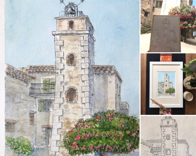 Original watercolor, Belfry of Tourtour, the village in the clouds. Hand painted painting.