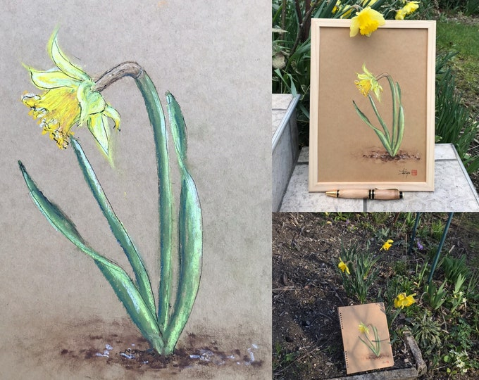Table with pastels in oil, the daffodil of the garden. original framed A4 format. For Mother's Day, birthday, Valentine's Day.
