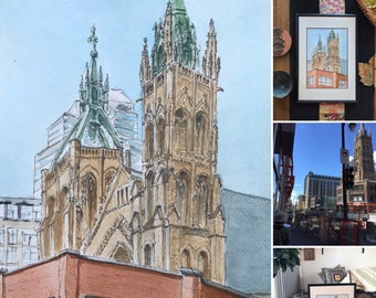 Watercolor, the Saint-jean Montreal United Church. Original hand-painted.