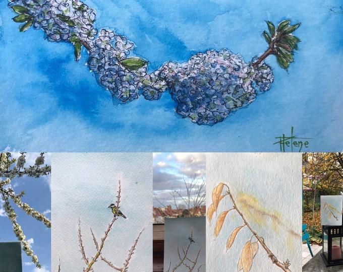 Postcard-sized watercolors, cherry tree.
