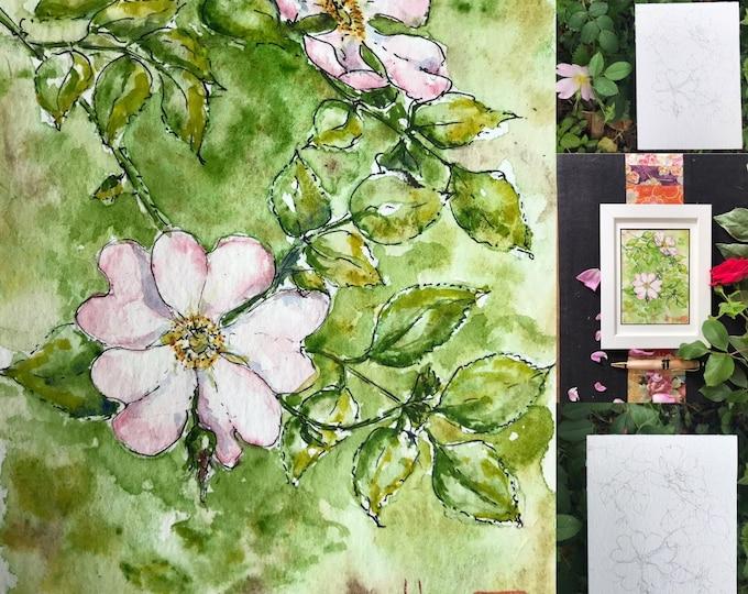 Original watercolor, rosehies. postcard format, hand painted.