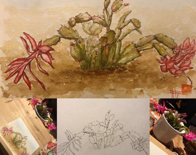 Aquarelle, le cactus de Noël. Peinte à la main, originale. Format A5.