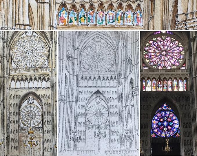 impression à colorier des vitraux de la cathédrale de Reims et la façade de la cathédrale de Reims