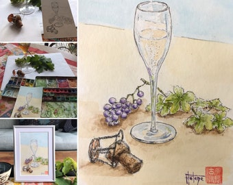 Postcard-sized watercolor, champagne.  Hand-painted original