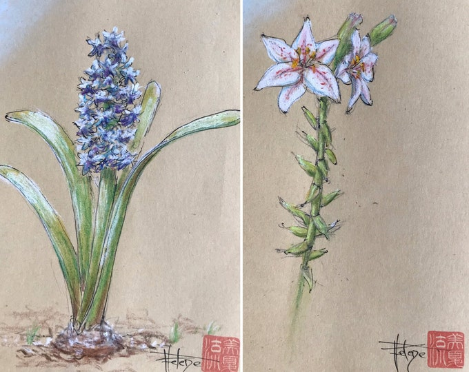 Floral cards, hand-drawn on kraft paper, delivered with envelope. For Mother's Day, birthday, Valentine's Day.