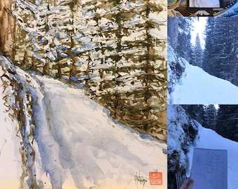Watercolor, Snowy hike in original mountain. Hand painted.