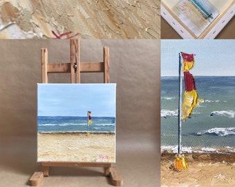 Original oil painting, Australian beach. Table format 30x30cm (11.8x11.8Inches)