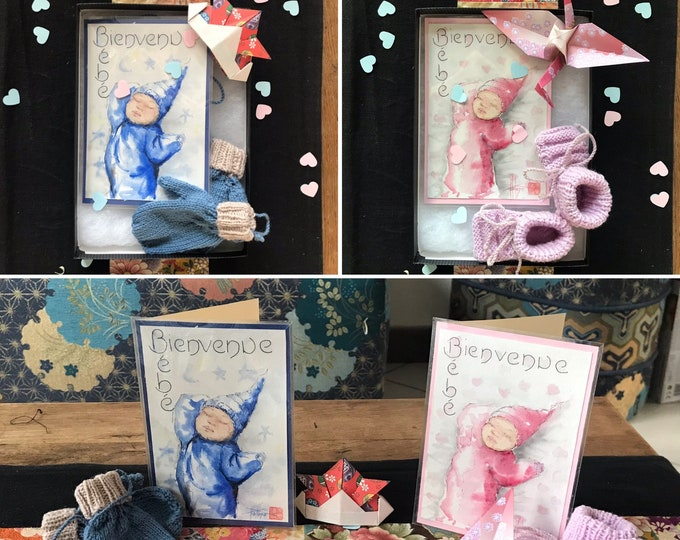 Personalised birth box. hand-painted watercolor card - birth knit - origami