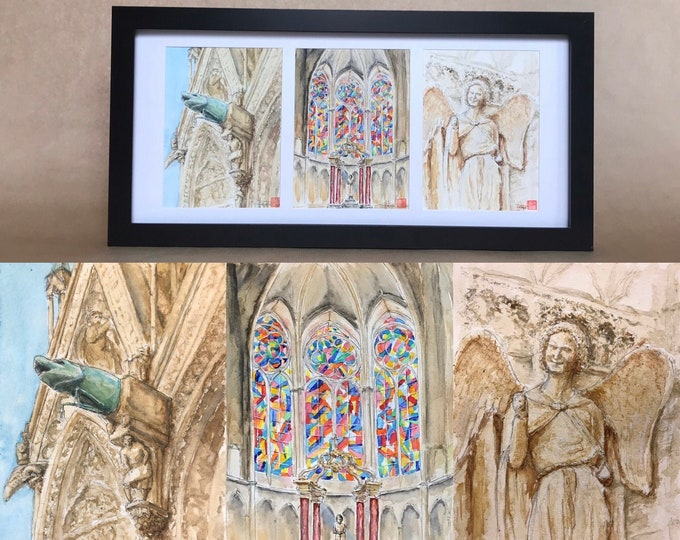 Triptych of watercolours, Reims Cathedral. hand-painted originals.