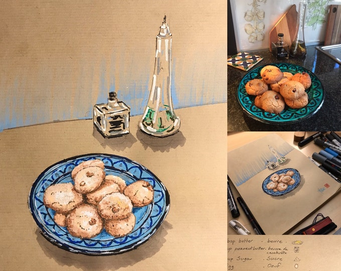 Table at Poscas, Cookies. Hand-crafted drawing.