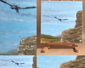Painting on canvas chassis , painted in oil, the theft of the wild condor. Original hand-painted