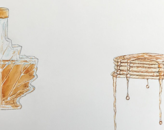 Original watercolour painting, Pancakes and maple syrup, hand-painted.