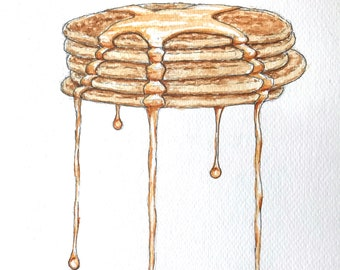 Painting in watercolor, pancakes, original hand-painted.