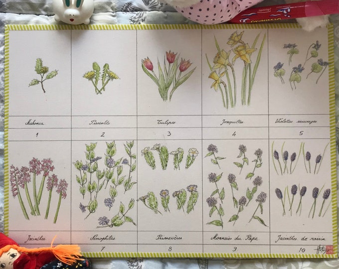 Original watercolor painting for children's room, a nursery rhyme of flowers. Format A3
