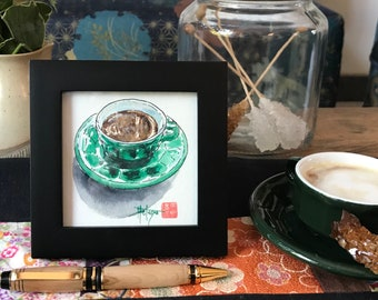 original Father's Day gift, frame with watercolor, espresso bistro. hand-painted watercolor.