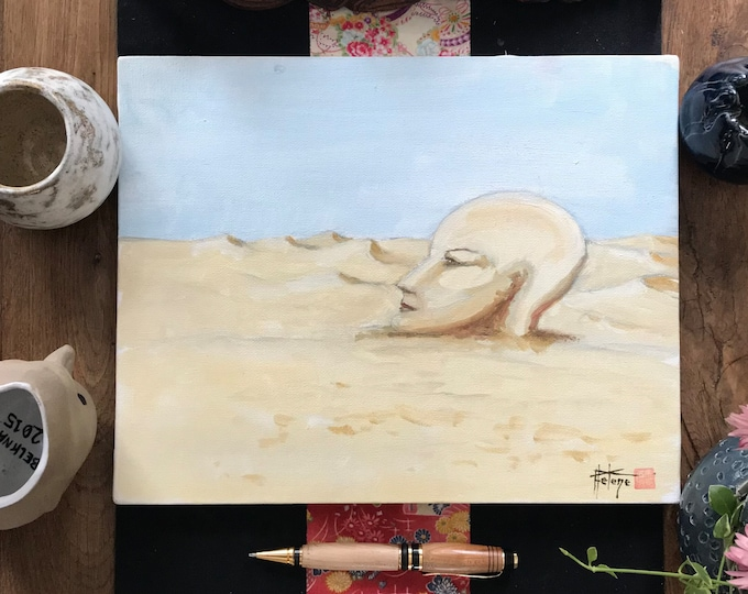 Oil table, surrealist, Cybele buried. Original hand-painted.
