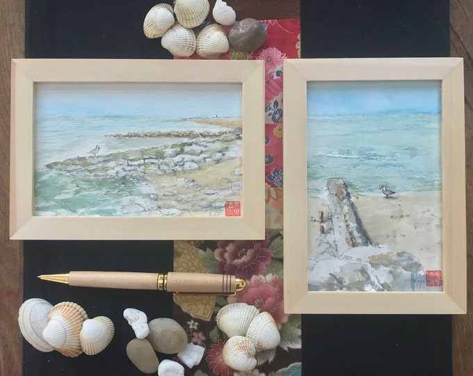 Watercolor painting, seagulls, postcard format, original hand painted.